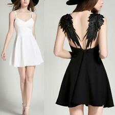 Women Plunge V-neck Angel Wings Backless Skater Lace Party Gallus Mini Dress LC