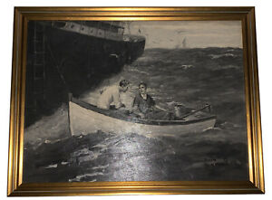 ORIGINAL OIL PAINTING, by DONALD S HUMPHREYS, THE PORT OF LOST SHIPS CHAPTER 5