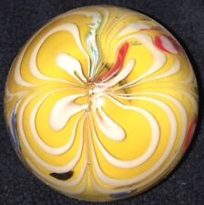 Vintage Art Glass Hand Blown Paperweight Inkwell Millefiori Floral White Ribbon