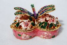 SWAROVSKI CRYSTAL BEJEWELED ENAMELED HINGED TRINKET BOX-  DRAGONFLY HEART BOX
