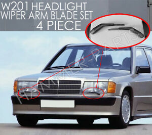W126 W201 Europan Headlight Wiper Set 4 Piece Left And Right Set Cosworth 300sel