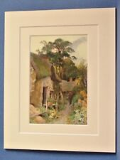 NEW FOREST SQUATTERS COTTAGE VINTAGE DOUBLE MOUNTED WATER COLOUR PRINT 10X8 1920