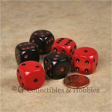 NEW Set of 6 Black Red ROUNDED EDGE Dice Set RPG Bunco Game 16mm 5/8 inch D6