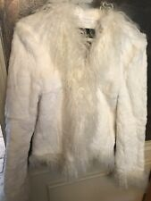 White rabbit fur jacket with accent sheep fur Size Small