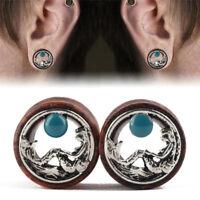 Wood Mermaid Ear Tunnels Flesh Tunnels Ear Gauges Ear Plugs Piercing Jewelry SP