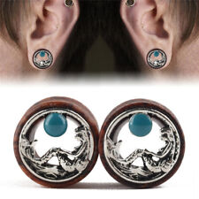 Wood Mermaid Ear Tunnels Flesh Tunnels Ear Gauges Ear Plugs PiercingM&C