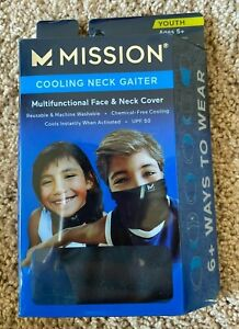 Mission Cooling Neck Gaiter Youth Face Mask UPF 50 Cools when Wet Black