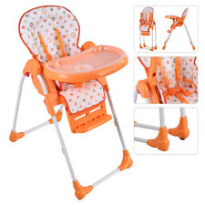 Adjustable Baby High Chair Infant Toddler Feeding Booster Seat Folding Orange