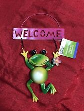 Pink Frog Welcome Sign GARDEN POOL PATIO DECOR - Die Cut Sheet Metal