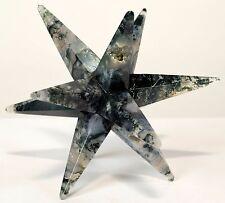 "3.2"" Natural Druzy Moss Agate 12 Point Merkaba Star Handmade Gem Crystal - India"