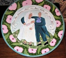 LARGE DROLE DESIGNS BRIDE AND GROOM PLATTER LOVE ME TENDER WEDDING MOTIF