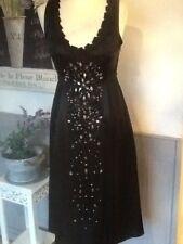 PHASE EIGHT DRESS BLACK SILK SPARKLY EMBELLISHED COCKTAIL PART UK 10