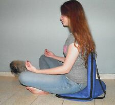 Blue Chair fold Yoga Meditation Vipassana Floor Bleacher Stadium Lower back supp