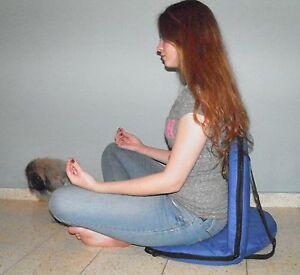 Blue Chair fold Yoga Meditation Vipassana Floor Bleacher Stadium Lower back supp