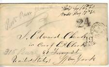 UK 1860 LONDON STAMPLESS 19CENTS & 24  MARKINGS AUG 4
