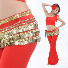New Belly Dance Costume Hip Scarf Belt velvet & 338pcs Golden Coins 14 Colors