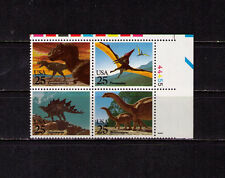 Us Usa Sc# 2425b Mnh Fvf Plate # Block Dinosaurs Stegosaurus Brontosaurus Ty Rex