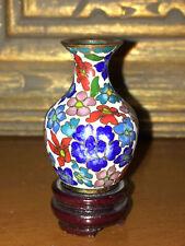 Antique Cloisonne Enamel Miniature Chinese Floral Vase Carved Wood Pedestal Vtg
