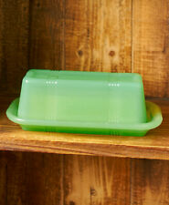 Jadeite Green Milk Glass Vintage Crossed-Striped Covered Butter Dish NEW NICE!!