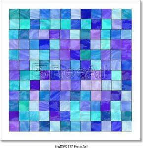 Blue Stained Glass Art Print / Canvas Print. Poster, Wall Art, Home Decor - C