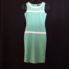 NWT $98 Vintage Pin Up Style Sea Foam Green & White Dress By Nature Small.