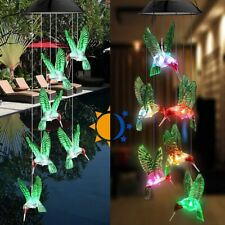 New listing Color-Changing Led Solar Powered Hummingbird Wind Chime Garden Hanging Light