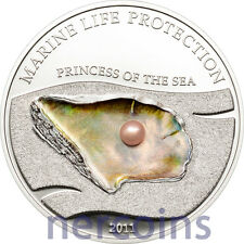 Palau 2011 Princess of the Sea $5 Silver Proof Coin with Pink Pearl Marine Life