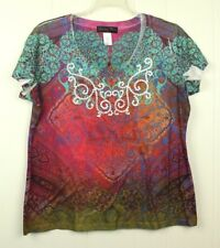 Appropriate Behavior Womens Size Large Stretch V-neck Multicolor Blouse Top