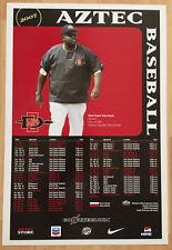 VINTAGE TONY GWYNN 2007 SAN DIEGO STATE AZTEC BASEBALL SCHEDULE POSTER SDSU HOF