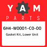 6H4-W0001-C0-00 Yamaha Gasket kit, lower unit 6H4W0001C000, New Genuine OEM Part