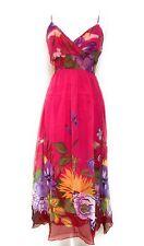 Ladies Chiffon Adjustable Strap Empire Waist Bra Pad Fuchsia Maxi Dress NWT L.