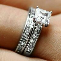3 CT Princess cut Engagement Ring Wedding Bridal Band Set 14k White Gold Over