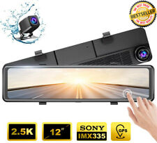 """Best 12"""" Mirror Dash Cam Backup Camera Touch Screen HD 2.5K Rearview Dual Lens"""