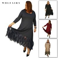 Wolfairy Plus Size Maxi Dress Lagenlook Floral Layered Lace Frill 3/4 Sleeve
