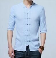 Chinese Style Retro Shirt Men's Slim Fit Cotton Linen Short Sleeve Casual Top