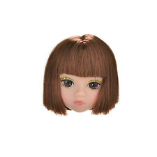 1 Pcs Doll Head Fashion Flaxen Short Hair Students Head Wigs For Barbies Doll VP