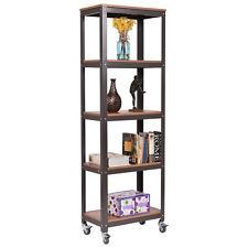 5 Tier Rolling Bookcase Rack Display Storage Rack Shelves Metal Wood Home Office