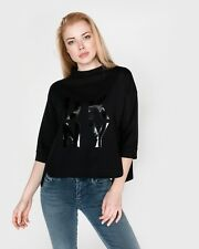 2daf3a82fe63c DKNY Sport Popover Sweatshirt Top With Lacquer Logo Black Womens Sweatshirt  L