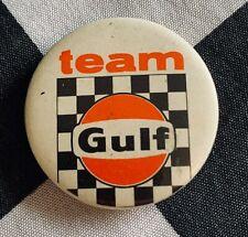 ORIGINAL WYER GULF RACING TEAM BUTTON BADGE 1970's PORSCHE 917 K LE MANS MIRAGE