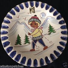 "GRAVEREN NORSK NORWAY GIRL SKIING HAND MADE ASHTRAY 7 1/4"" MOUNTAINS WHITE BLUE"