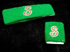Nos Green Monogram Initial S Sport Headband Sweatband Wristband Set Retro Racing