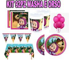 KIT 92PZ FESTA MASHA E ORSO PIATTO TOVAGLIOLO addobbi tavola set compleanno