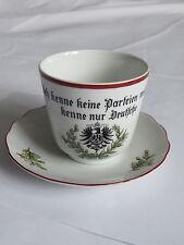OLD German WWI PATRIOTIC SET TEA / COFFEE CUP & SAUCER BAVARIA PORCELAIN 1914-18