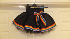 NEW HANDMADE CHILDS BLACK RAINBOW RIBBON TUTU MINI SKIRT IRISH DANCE 8 - 10 YRS