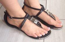 DOLLHOUSE Kitten Wedge Black Sandal Silver Metal Belt Buckle Accent Sz 8 Lottie
