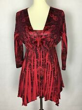 One World Live and Let Live Women's Top Size Small Red  Embellished Neck Line Q
