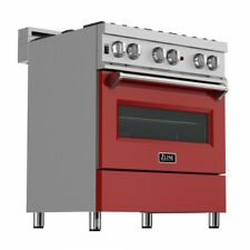 "Zline 30"" Dual Fuel Range Oven Gas Electric Stainless Red Door Ras-Rm-30"