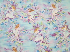 FAIRY FAIRIES GLITTER FLOWERS SWIRLS BLUE COTTON FABRIC BTHY