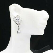 Gorgeous White Sapphire Woman's Present Silver Earrings