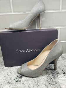ENZO ANGIOLINI Silver Peep Toe Stilleto Heels Sz 9.5 Eamayalin Pumps Dress Shoe